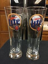 Miller Lite Tall Pilsner Beer Glasses With JAGUARS LOGO ON ONE SIDE!!!VINTAGE!!
