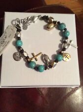 $35 Lucky Brand Two-Tone Beaded Leather Cross Charm Bracelet #L35