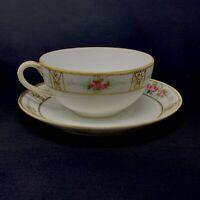 Vintage NIPPON GOLD MORIAGE PINK ROSES TEA CUP & SAUCER Fine Porcelain