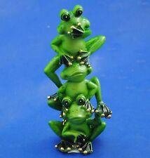 "1 x Hear No Evi See No Speak No Evil Green Tree Frogs Totem Ornament Statue 7"""