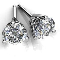 4.00 ct Round Cut Diamond Earrings Stud Solid 14K White Gold VVS1 Size L K M O P