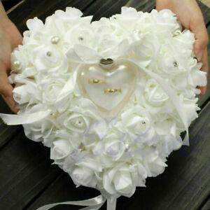Romantic Favor Rose Heart Shaped Wedding Ring Box Pillow Cushion Holder Decor