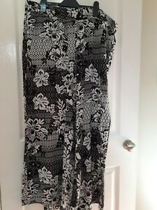 Riviera At BHS Black And White Floral Print Wide Leg Trousers Size 20