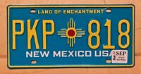 """NEW MEXICO USA AUTO PASSENGER LICENSE PLATE PKP 818 """" NM REVISED TURQUOISE BASE"""