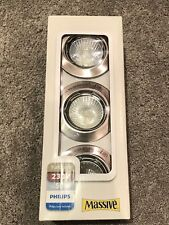 Philips New 3 Pack GU10 240V Mains Fixed Recessed Ceiling Spotlights Downlights