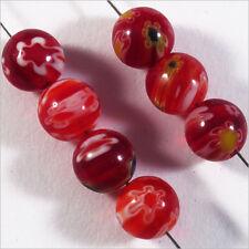 Lot de 10 Perles Millefiori en Verre 8mm Rouge