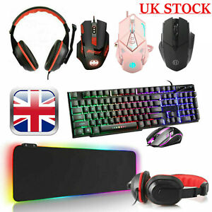 Gaming Keyboard Mouse Headset RGB LED Mat Pad For PC Laptop PS4 Xbox One 360 UK