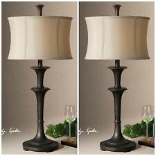 "TWO NEW 31"" OIL RUBBED BRONZE TABLE LAMP SILKEN SHADE READING DESK LIGHT LAMPS"