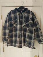 Dickies Mens Shirt Plaid Cotton Flannel Medium Quilted Hoodie Zip Jacket XXL