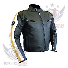 MENS MOTORCYCLE LEATHER JACKETS. BMW 3874 Yellow Genuine Cowhide Armoured Gear