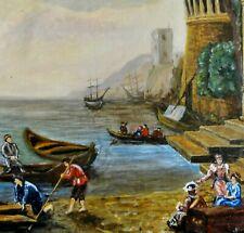 G.SCHEEL (XX) - tolles Gemälde 87: ANTIKE HAFEN-ANSICHT IM ALTEN ITALIEN, BOOTE,