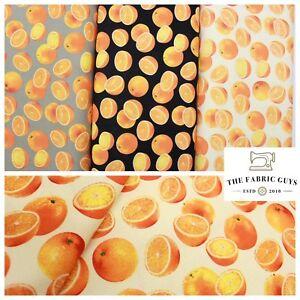 "Oranges Fruit, 100% Pure Cotton Canvas Fabric, 3 Colours, High Quality, 45"" Wide"