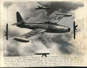 "1950 Press Photo USAF F-84 ""Thunderjet"" plane flies over Japan during Korean War"