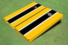 Black And Yellow Matching Long Stripe Custom Cornhole Board