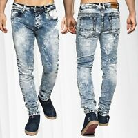 Denim Stretch Jeans Slim Fit Men Vintage blanchie 5-Pocket Knitter style