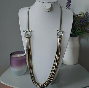 M&S Retro Statement Silver Gold Tone Multi Strand Chain Long Costume Necklace
