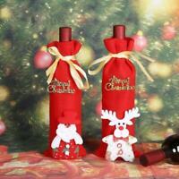 Merry Christmas Wine Bottle Cover White Reindeer & Santa Claus