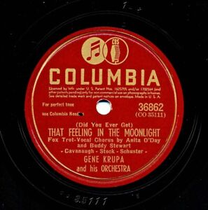 GENE KRUPA and his Orch. on 1945 Columbia 36862 - That Feeling in the Moonlight
