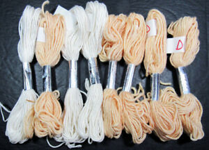 8x Needlepoint/Embroidery THREAD J L WALSH Silk Wool-white, lt orange-XW132