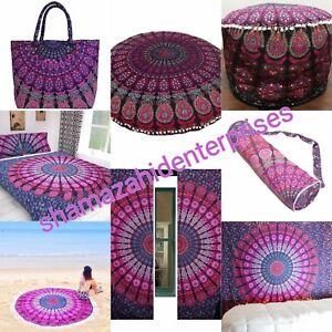Indian Purple Mandala Tapestry,Yoga Bag,Round Floor Cushion,Ottoman Pouf,Curtain