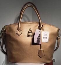 "$ 175.00 LONDON FOG Women's Shoulder Handbag Gold Vegan Large NWT 12.5""14.5""5""6"""