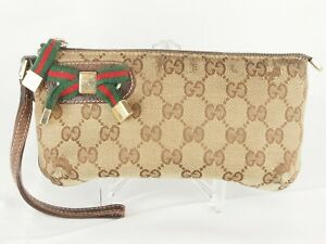 【Rank BC】GUCCI Vintage Mini Pouch Sherry Line GG Canvas Leather Brown A074