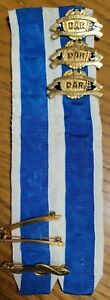 DAR Daughters Of The American Revolution Gold Filled Ribbon Medal Badge IOWA