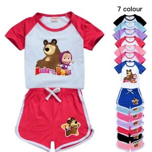 Masha and The Bear Cartoon Kids Short sleeve Casual T Shirt Tops+Shorts Pyjamas