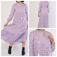 BIGDART Ladies Lilac Dress Size 18 Long Tiered Floral Pattern Smart NEW NWOT  🌹