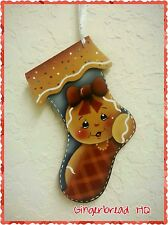 HP Hand painted  Gingerbread Girl Wooden Christmas Ornament, Ginger, Stocking