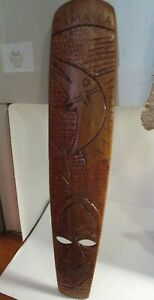 Jamaica Tropical Wooden Face Mask Fish Wall Decor Rough Hewn Hand Carved Vintage