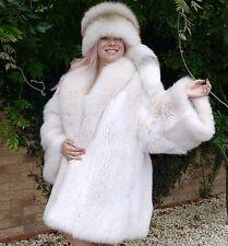 Unisexe réel blanc Saga Fox Fur Coat Veste Taille XXL Extra large manches Fab!