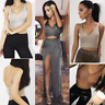 Ladies Metallic Crop Top Knit Body Chain Metal Harness Stretchy Evening Party UK