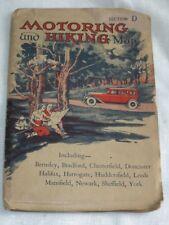 Vintage 1930s Motoring Hiking Auto Map UK England Mansfield Sheffield Yorshire