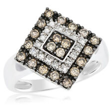 14K White Gold Pave Diamond Champagne Brown Cognac Right Hand Cocktail Ring