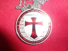 """Necklace Painted Templar Cross Themed Round with 20"""" Stainless Chain"""