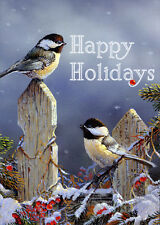 Sunny Chickadees in Winter - Box of 18 Bird Christmas Cards by Lpg Greetings