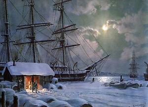 John Stobart Print - New Bedford: Snowfall On Central Wharf c. 1875