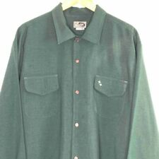 Old School Cholo Gangster Style Mens XL  Button Front LS Shirt Green Redsand