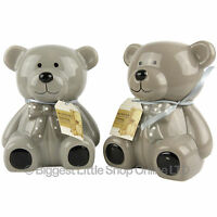 17cm Ceramic TEDDY BEAR Hands Painted Defects Money Box Savings Bank Grey CUTE