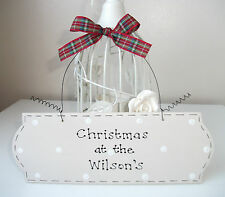 Christmas Home Gift ~ Personalised Family Name Sign ~ Handcrafted Shabby Chic