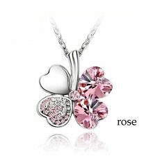 Clover Necklace Four Leaf Crystal Rose Pendant Chain