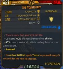 PC Anointed The Transformer Shield ActionEnd Apply Terror Self Borderlands 3 BL3