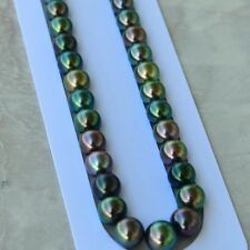 Amazing Multi-black Tahitian Pearl 9~10.8mm top Luster ExactlyRound43cm Necklace