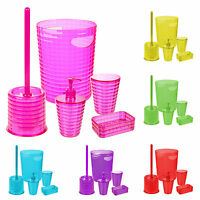 5pc Colour Match Bathroom Accessory Set Soap Dish Dispenser Bin Brush Tumbler
