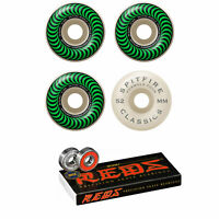Spitfire Skateboard Wheels F4 Classics 99A Green/White 52mm Bones Reds Bearings