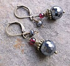 Flashy Faceted Hematite, Garnet & Bronze Leverback Earrings  Sundance Artisan