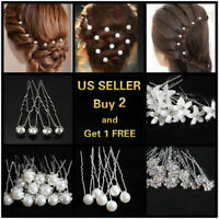 Choose 6 U-shaped Crystal Pearl Bun Hair Pin Clip Grips Brown Wavy Salon Hairpin