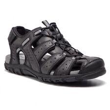 GEOX Sandali Uomo Strada B Black Nero Sneakers Man Shoes Respira Synt. Leather