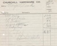 U.S. Churchill Hardware Co. Oregon 1916 Nails Battery Etc Paid Invoice Ref 41832